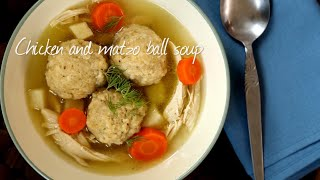Chicken and matzo dumpling soup