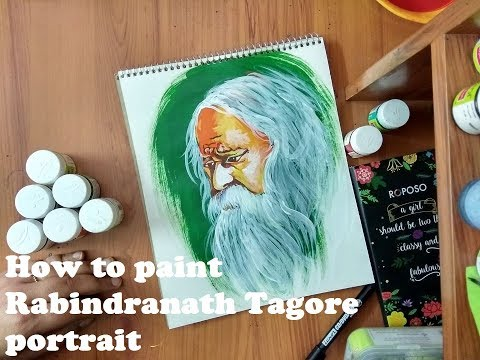 How to paint a Rabindranath portrait with acrylic