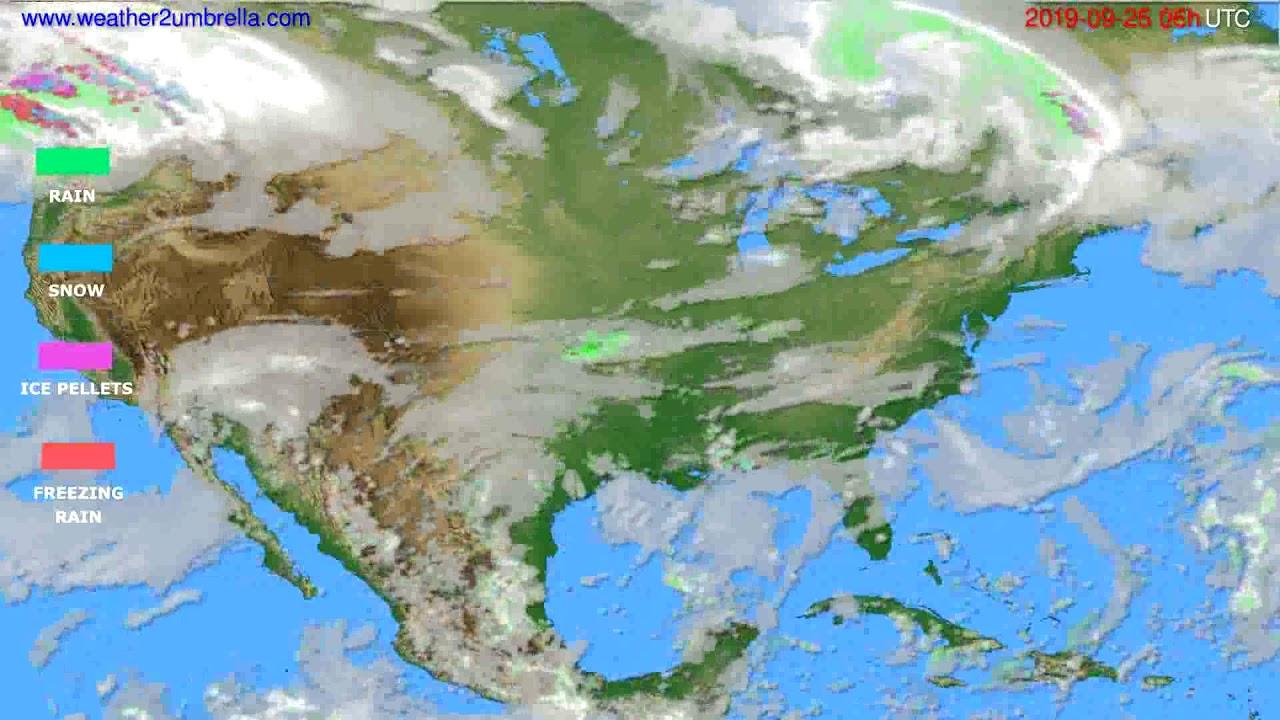 Precipitation forecast USA & Canada // modelrun: 00h UTC 2019-09-24
