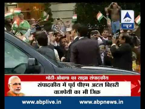 'Forward together we go — chalein saath saath'  says Modi and Obama in joint op-ed 30 September 2014 08 PM