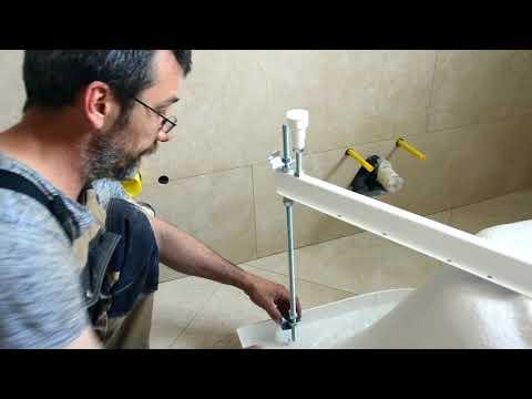 Монтаж угловой акриловой ванны