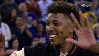 Draymond Green Presents Nick Young's Championship Ring During Pregame