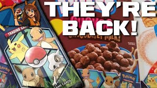 POKEMON CARDS RETURN TO CEREAL - Opening 4 Packs of Pokemon Cards from Cereal Boxes! by Flammable Lizard