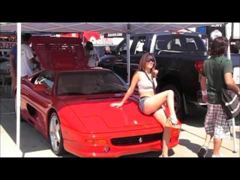 Nopi model sitting on a Ferrari