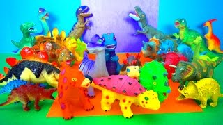 Happy Dinosaurs Cute Animals Smiley Faces Fun Toy Review T Rex Stegosaurus Triceratops