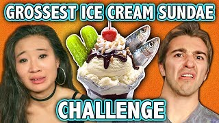 FBE mixes it up with the GROSSEST ICE CREAM SUNDAE CHALLENGE!Leave comments of what we should do next!SUBSCRIBE THEN HIT THE 🔔! New Videos 12pm PST on REACT! https://goo.gl/7SnCnCOn Challenge Chalice, Tom, Kennedy, Mel, and Jeannie combine and eat some definitely-not-belonging-on-dessert food in the GROSSEST ICE CREAM SUNDAE CHALLENGE.This episode features the following reactors:Tomhttps://www.youtube.com/user/ImBostonTomJeanniehttps://www.youtube.com/JeannieEliseMaiKennedyhttps://www.youtube.com/user/ItIsWhatItIsTV/videosThis episode features the following staff:Alexhttp://www.twitter.com/AlexWexMelhttps://www.instagram.com/mel_judson/Follow Fine Brothers Entertainment:FBE WEBSITE: http://www.finebrosent.comFBE CHANNEL: http://www.youtube.com/FBEREACT CHANNEL: http://www.youtube.com/REACTBONUS CHANNEL: https://www.youtube.com/FBE2FACEBOOK: http://www.facebook.com/FineBrosTWITTER: http://www.twitter.com/thefinebrosINSTAGRAM: http://www.instagram.com/fbeSNAPCHAT: https://www.snapchat.com/add/finebrosTUMBLR: http://fbeofficial.tumblr.com/SOUNDCLOUD: https://soundcloud.com/fbepodcastiTUNES (Podcast): https://goo.gl/DSdGFTMUSICAL.LY: @fbeLIVE.LY: @fbeSEND US STUFF:FBEP.O. BOX 4324Valley Village, CA 91617-4324Creators & Executive Producers - Benny Fine & Rafi FineHead of Post Production - Nick BergtholdDirector of Development & Programming, Audience Engagement - Melissa JudsonAssociate Producer - Alex Wechsler, Julie MontoyaCoordinator - Cynthia GarciaAssistant Production Coordinator - James RoderiqueProduction Assistant - Locke Alexander & Kristy KieferDirector of Production - Drew RoderPost Supervisor - Adam SpeasPost Coordinator - David ValbuenaMusic by:Santo Rico by Twin Musicom is licensed under a Creative CommonsAttribution license (https://creativecommons.org/licenses/...)Artist: http://www.twinmusicom.org/© Fine Brothers Entertainment.GROSSEST ICE CREAM SUNDAE CHALLENGE! (ft. React Cast)  Challenge Chalice