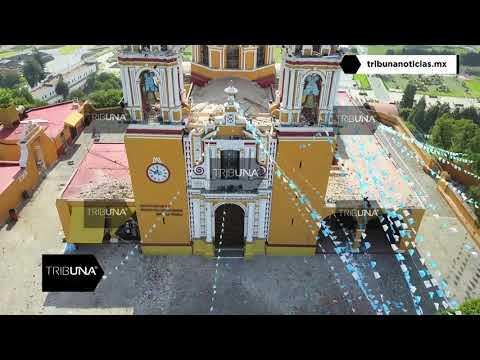 Caen torres en Iglesia de los Remedios en Cholula Puebla tras sismo de 7.1 grados  19/09/17
