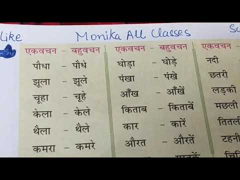 वचन बदलो। हिंदी।एकवचन बहुवचन।vachan badlo.hindi.change number in Hindi.monikaallclasses