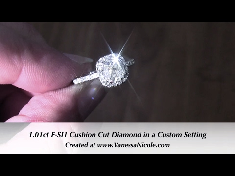 1CT CUSHION CUT HALO ENGAGEMENT RING | A Sparkling Cushion Cut Halo Ring | Vanessa Nicole Jewels