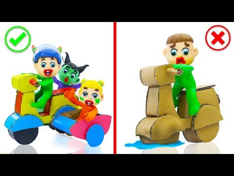 SUPERHERO BABY MAKES MOTORCYCLE WITH CARDBOARD  Play Doh Cartoons For Kids