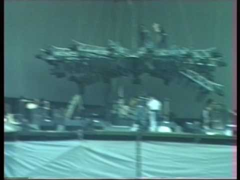 The Stone Roses. Spike Island. PA tests, May 26th 1990. 20 seconds of Reni and rigging crew.