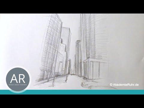 Zeichnen lernen, Akadmie Ruhr, Tutorials, Räumliches Zeichnen – Einpunktperspektive