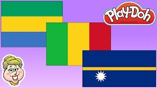 "Today Mrs. Jon makes the Play-Doh flags of Gabon, Mali, and Nauru! In Gabon, they say, ""m'bolo!"" In Mali, they say, ""I ni sogoma!"