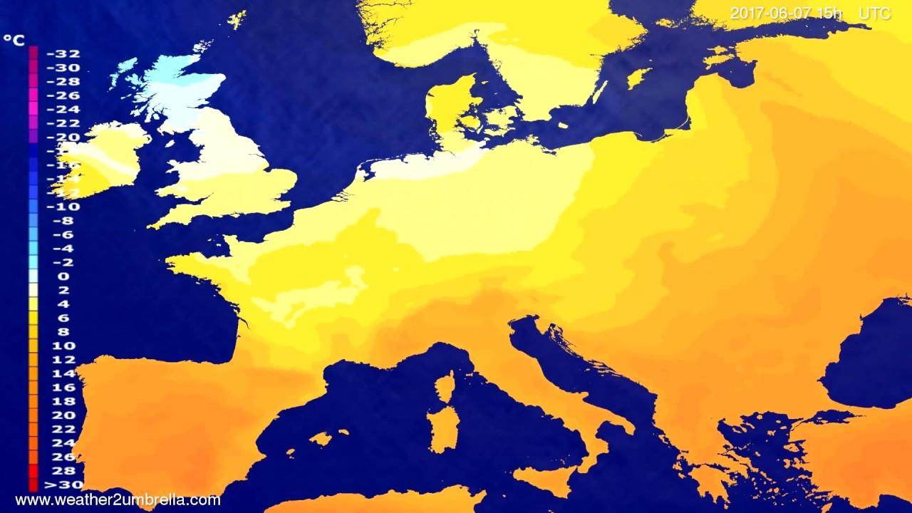 Temperature forecast Europe 2017-06-05