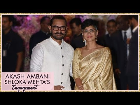Aamir Khan With Wife Kiran Rao At Akash Ambani And