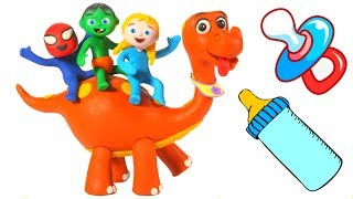 SUPERHERO BABIES BABY DINOSAUR GROWS • Superhero Babies Play Doh Cartoons For Kids