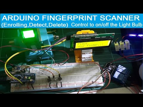 Arduino + fingerprint scanner (Enroll,Detect,Delete) w/ LCD and Control to on/off the Light Bulb