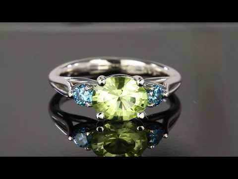 Peridot and Enhanced Blue Diamond Ring
