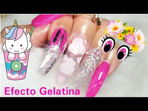 Hermosas Uñas Acrilicas Con Efecto Gelatina #nails #uñas #uñascarilicas