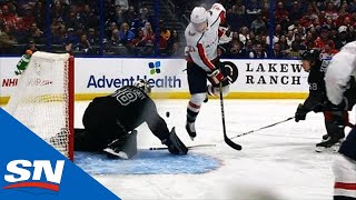 Garnet Hathaway Does Flying Pirouette, Pucks Ends Up In Lightning's Net by Sportsnet Canada