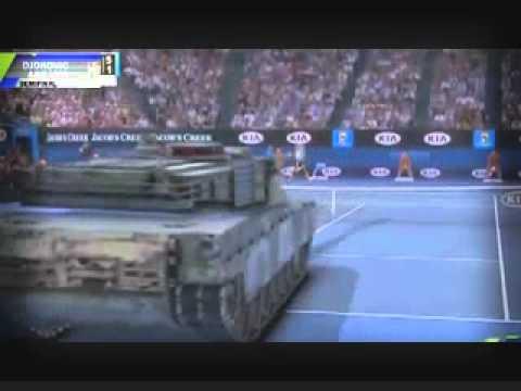 Djokovic đánh tennis với xe tăng :v