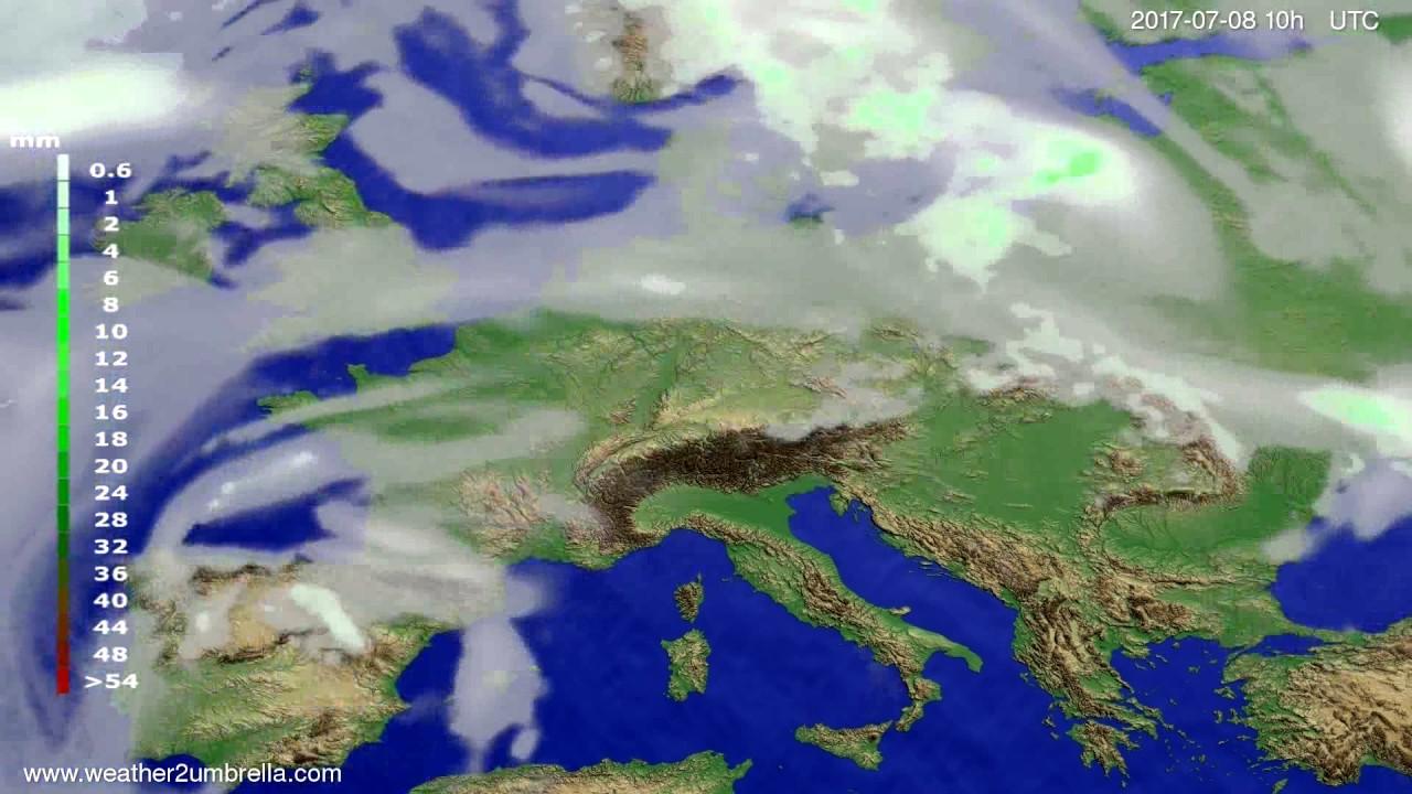 Precipitation forecast Europe 2017-07-06