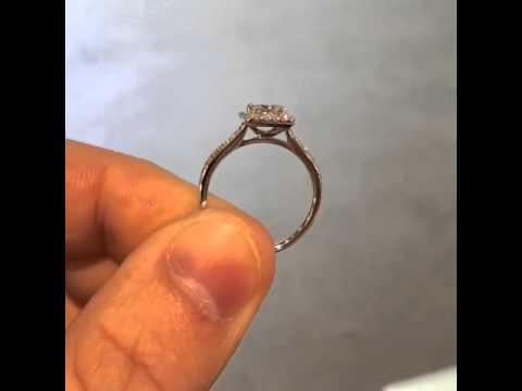Classic Princess Cut Halo Diamond Engagement Ring