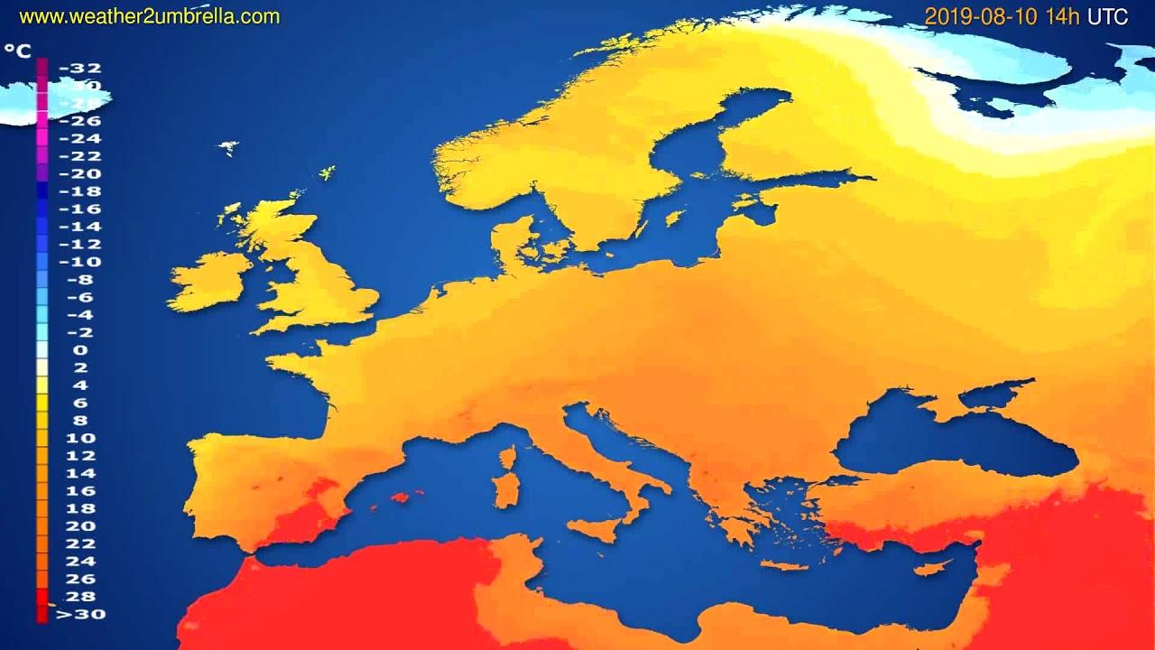 Temperature forecast Europe // modelrun: 12h UTC 2019-08-07