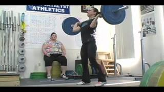 Weightlifting training footage of Catalyst weightlifters. Audra clean + jerk, Steve push press, Alyssa power jerk + jerk, Steve jerk, Alyssa snatch, Dawn snatch, Audra front sq