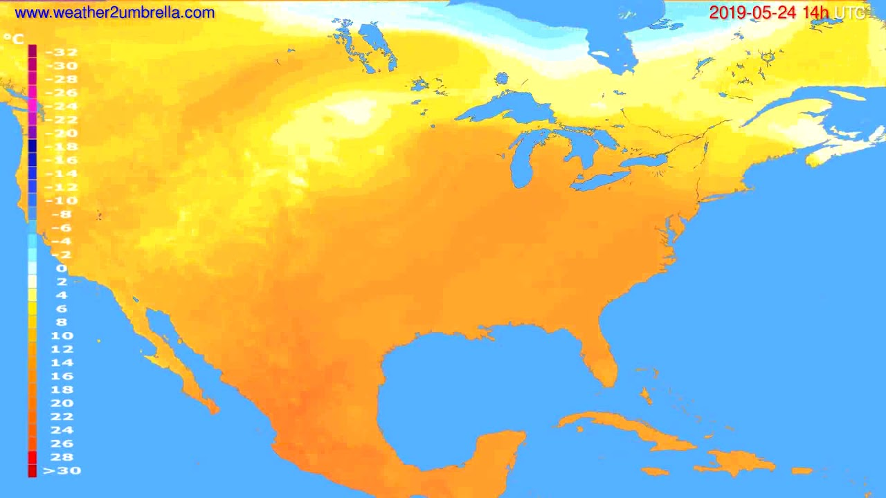 Temperature forecast USA & Canada // modelrun: 12h UTC 2019-05-21