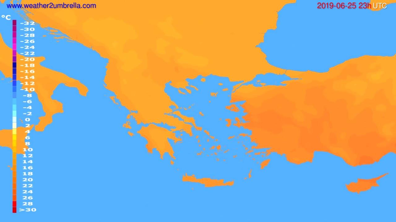 Temperature forecast Greece // modelrun: 12h UTC 2019-06-22