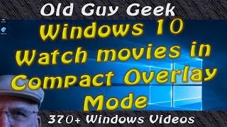 Did you ever want to watch a movie while you were browsing, working on a spreadsheet or whatever?  It's a pain to keep the video or movie on top.  Well, there's a new feature included with Windows 10 Creators Update that allows developers to include a new video mode call Compact Overlay.Basically, it's a borderless video window that you can resize and move to wherever you want on your screen.  The best news?  It automatically stays on top of all your open apps so that you don't have to share screen space on the side of your app.