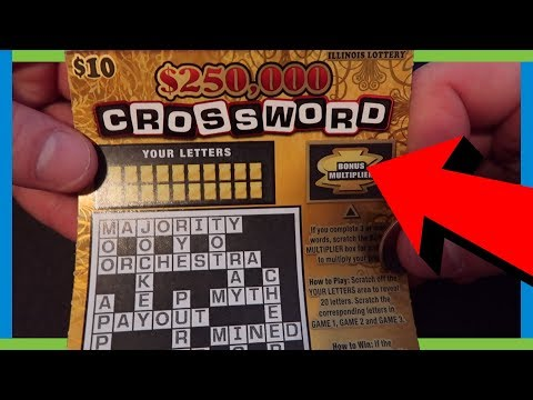 $250,000 CROSSWORD SCRATCH OFF TICKET - ILLINOIS LOTTERY TICKETS
