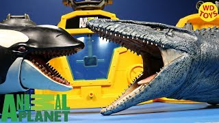 New Animal Planet Deep Sea Lab Mega Playset Mosasaurus Vs KIller Whale Jurassic World Unboxing