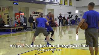 Steph Curry shooting around after Golden State Warriors practice, 2 days before season opener vs HOU