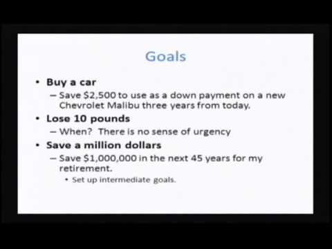 Personal Finance: Class 1 - Goalsetting