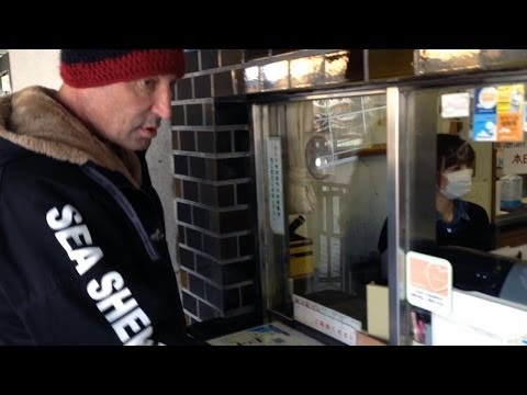 Taiji, Japan - Sam Simon tries to buy a ticket to Taiji Whale Museum