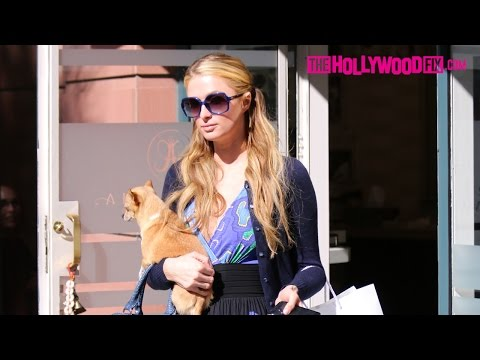 Paris Hilton Visits Anastasia Beverly Hills With Her Chihuahua Peter Pan 2.24.15