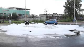 Schuimfontein in Leeuwarder Vrijheidswijk
