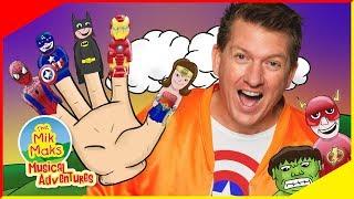 Finger Family Superheros | Kids Songs and Nursery Rhymes | The Mik Maks