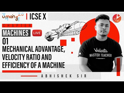 Machines L1 | Mechanical Advantage, Velocity Ratio & Efficiency of a Machine | ICSE Class 10 Physics