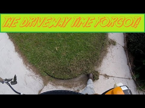 Long, Overgrown Grass On Driveway & Walkway Gets A Proper Edging (Real Time, Raw Audio) (видео)