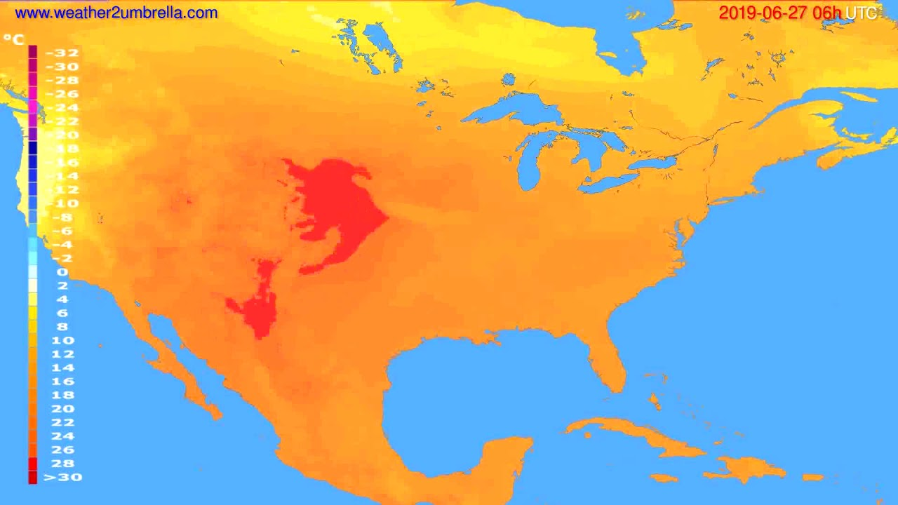 Temperature forecast USA & Canada // modelrun: 00h UTC 2019-06-25