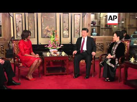 US First Lady Michelle Obama Meets Chinese President  Xi Jinping And His Wife Peng Liyuan