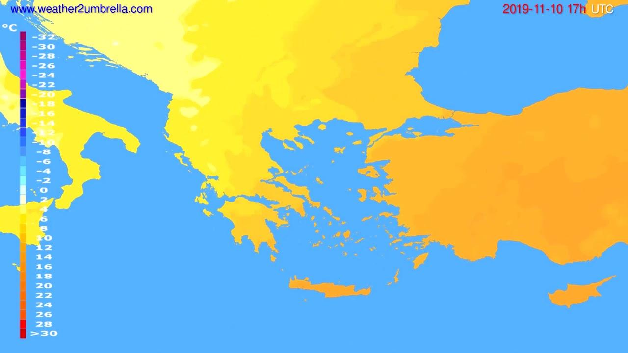 Temperature forecast Greece // modelrun: 00h UTC 2019-11-09