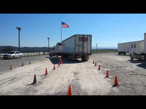 Offset backing maneuver at Tn Truck Driving School