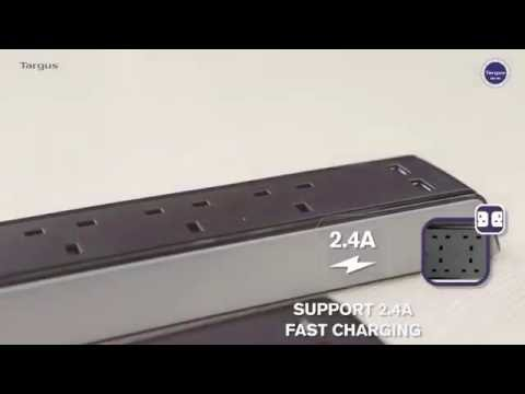 Targus Smart Surge 4 Socket Surge Protector 2 USB PORT