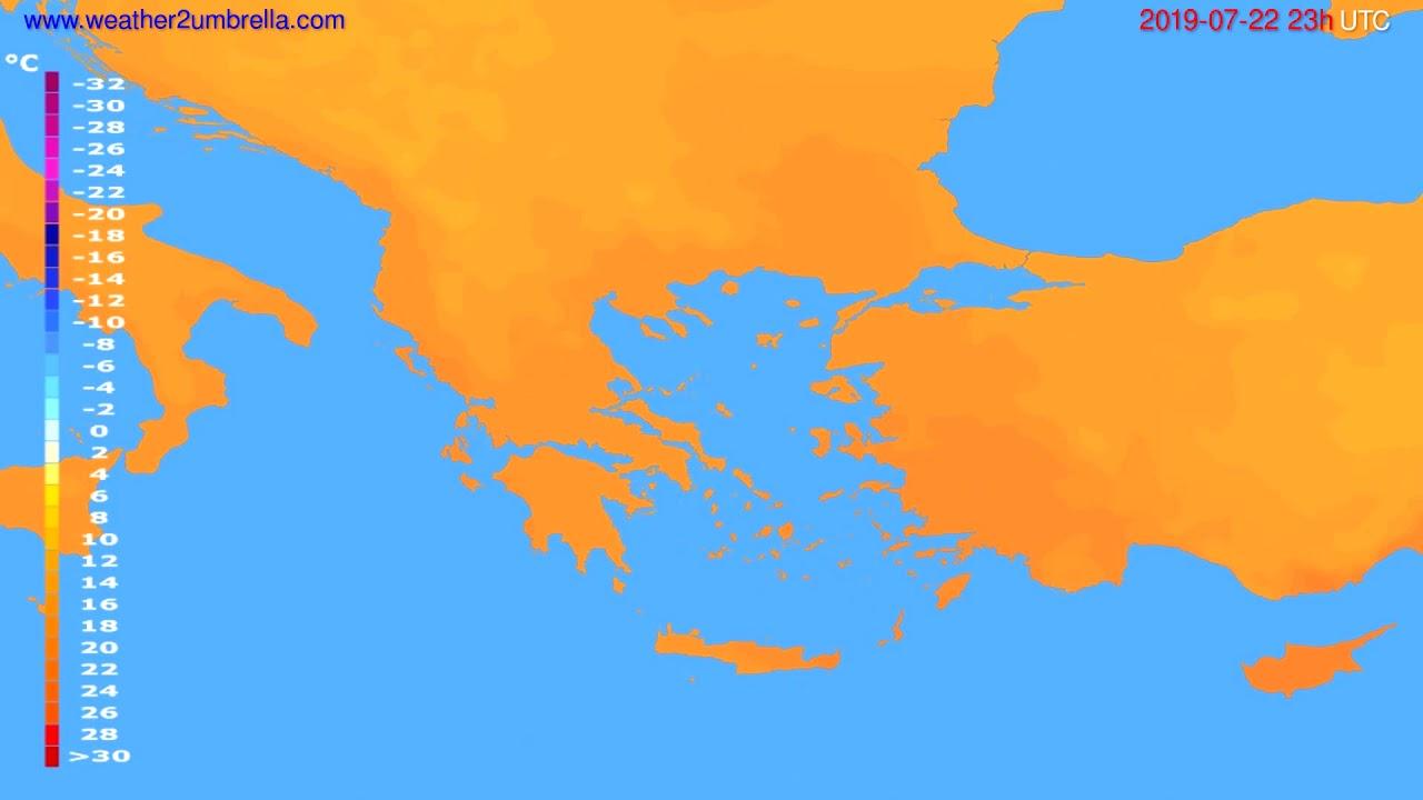 Temperature forecast Greece // modelrun: 12h UTC 2019-07-19