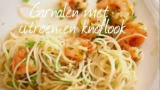 Garnalen met citroen en knoflook