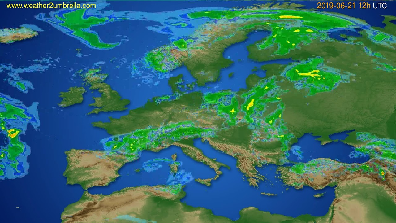 Radar forecast Europe // modelrun: 00h UTC 2019-06-21